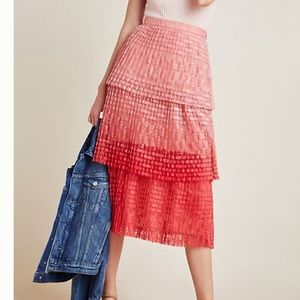 Anthropologie Brighton Tiered Midi Skirt